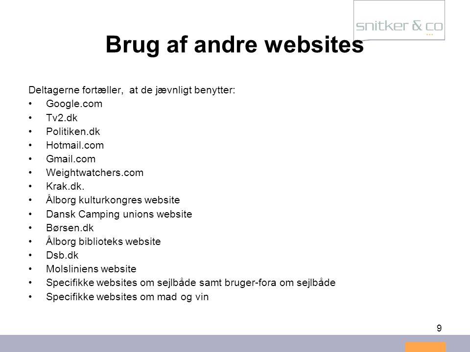 Brug af andre websites Deltagerne fortæller, at de jævnligt benytter: