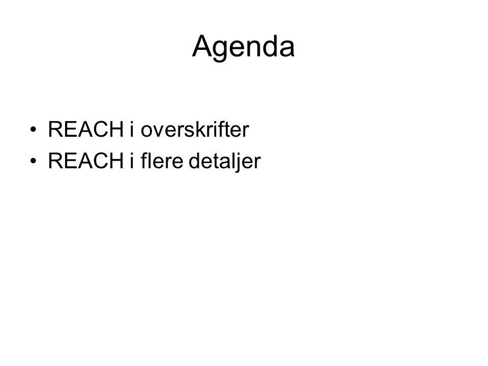 Agenda REACH i overskrifter REACH i flere detaljer