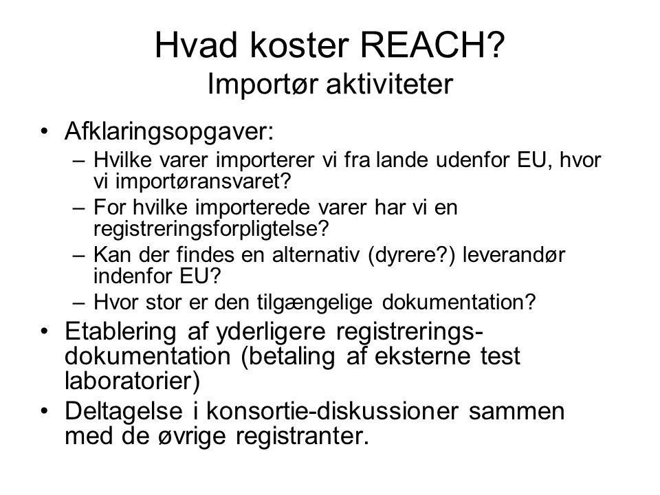 Hvad koster REACH Importør aktiviteter
