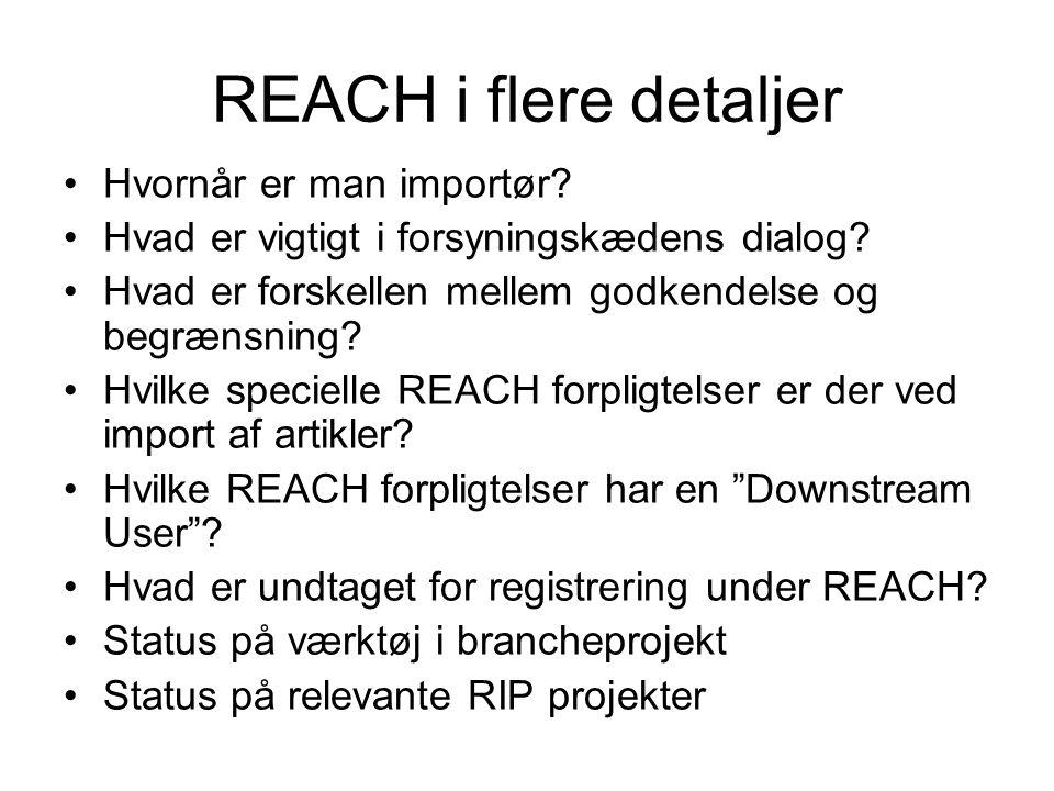 REACH i flere detaljer Hvornår er man importør