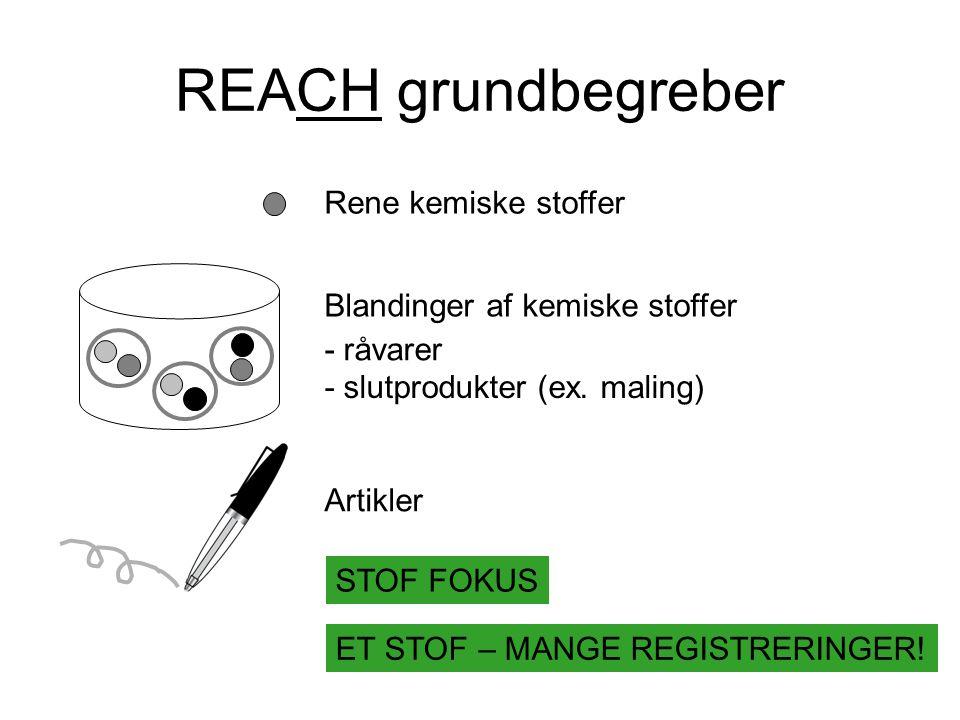REACH grundbegreber Rene kemiske stoffer Blandinger af kemiske stoffer