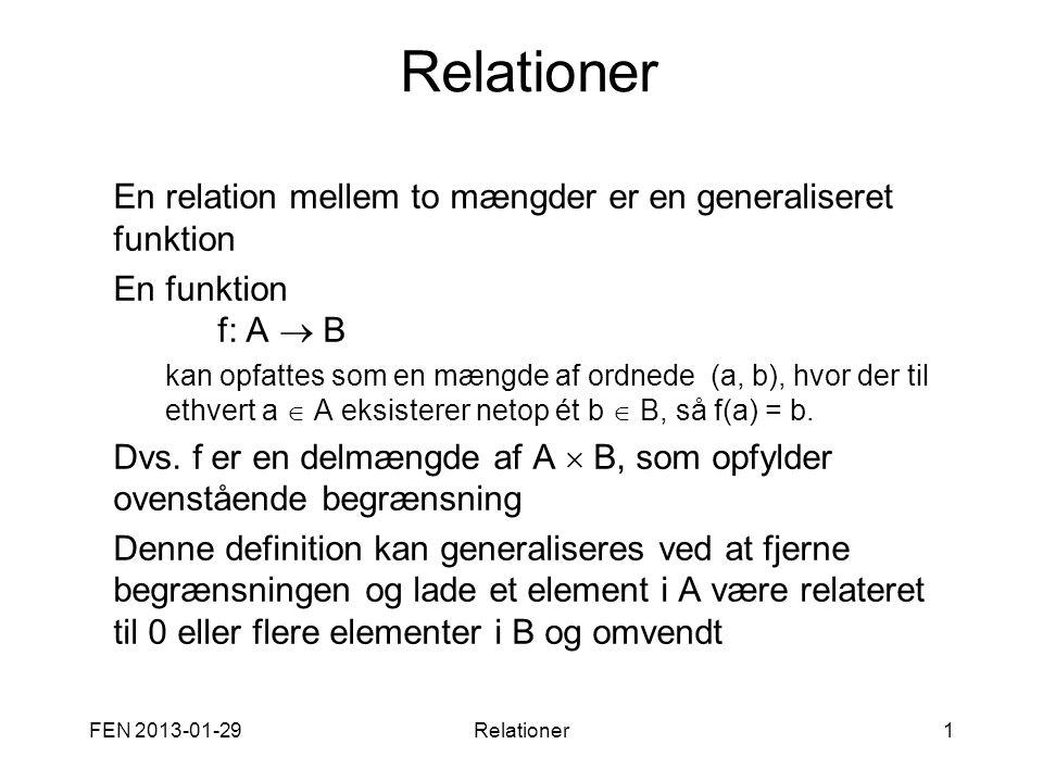 Relationer En relation mellem to mængder er en generaliseret funktion