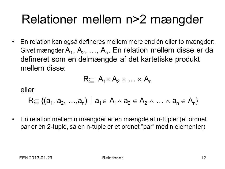 Relationer mellem n>2 mængder