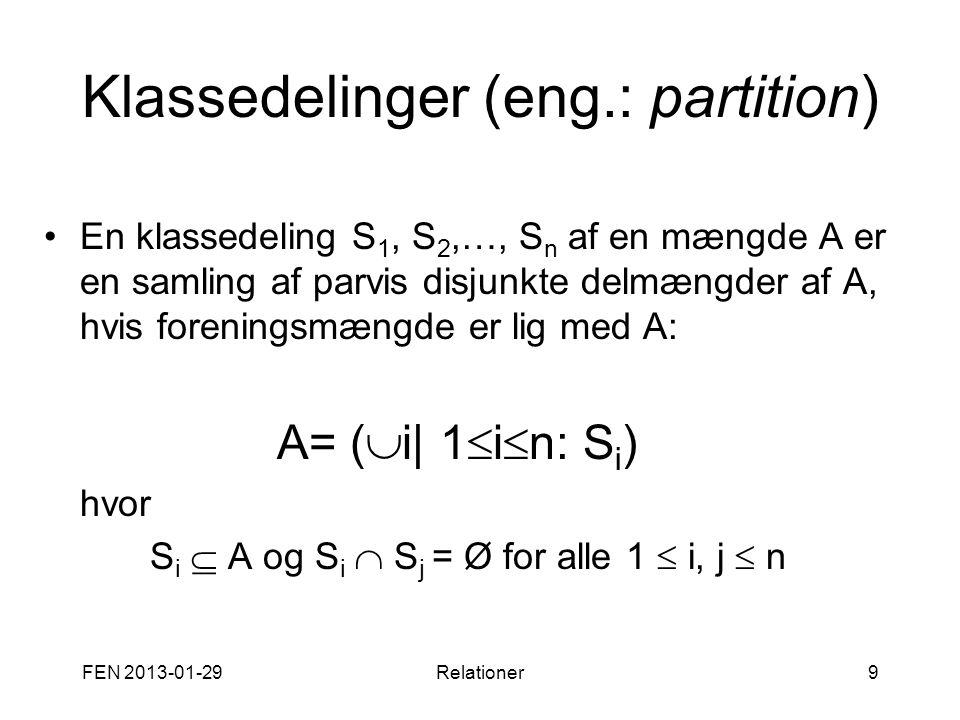 Klassedelinger (eng.: partition)