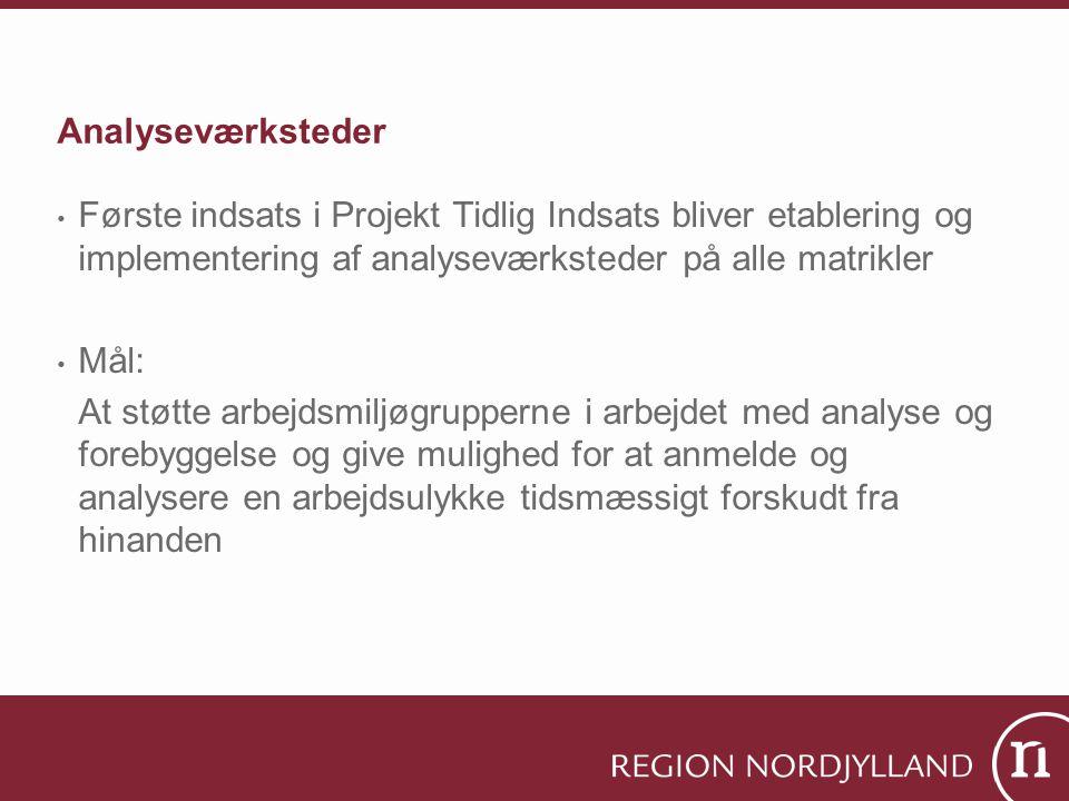 Analyseværksteder Første indsats i Projekt Tidlig Indsats bliver etablering og implementering af analyseværksteder på alle matrikler.