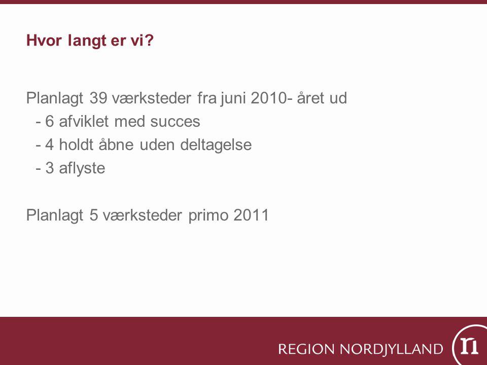 Hvor langt er vi Planlagt 39 værksteder fra juni 2010- året ud. - 6 afviklet med succes. - 4 holdt åbne uden deltagelse.