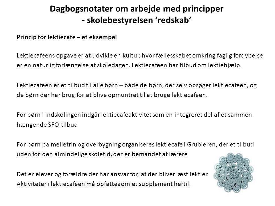 Dagbogsnotater om arbejde med principper - skolebestyrelsen 'redskab'