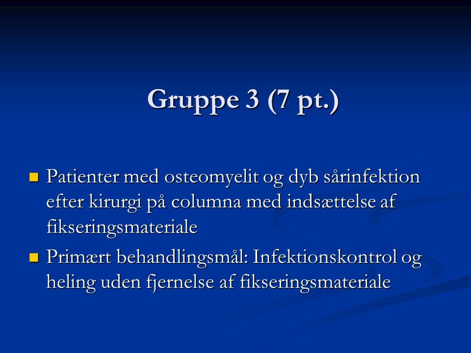 Gruppe 3 (7 pt.) Patienter med osteomyelit og dyb sårinfektion efter kirurgi på columna med indsættelse af fikseringsmateriale.