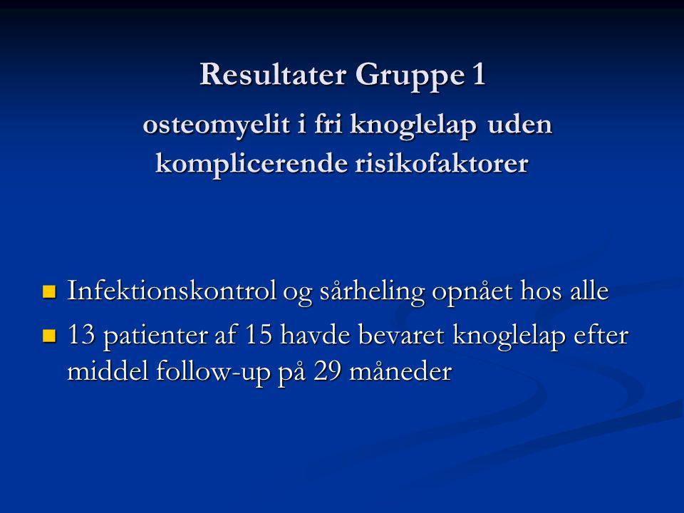 Resultater Gruppe 1 osteomyelit i fri knoglelap uden komplicerende risikofaktorer