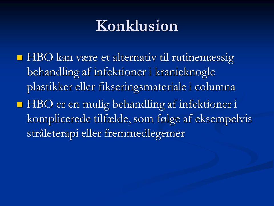 Konklusion HBO kan være et alternativ til rutinemæssig behandling af infektioner i kranieknogle plastikker eller fikseringsmateriale i columna.