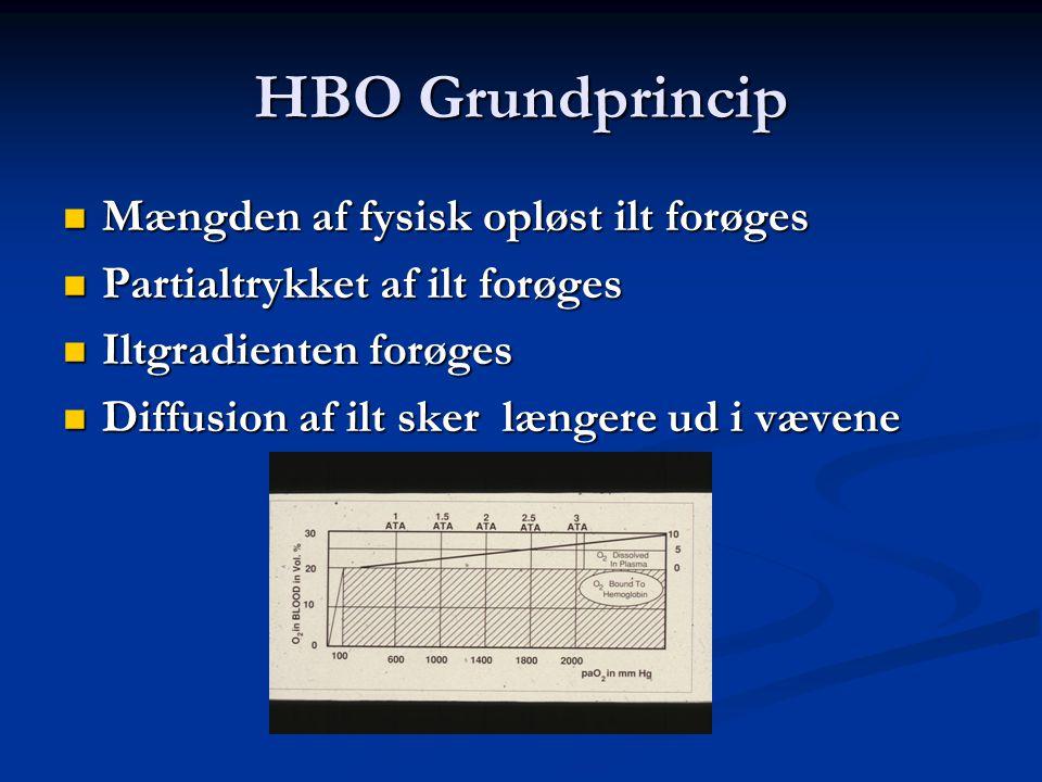 HBO Grundprincip Mængden af fysisk opløst ilt forøges