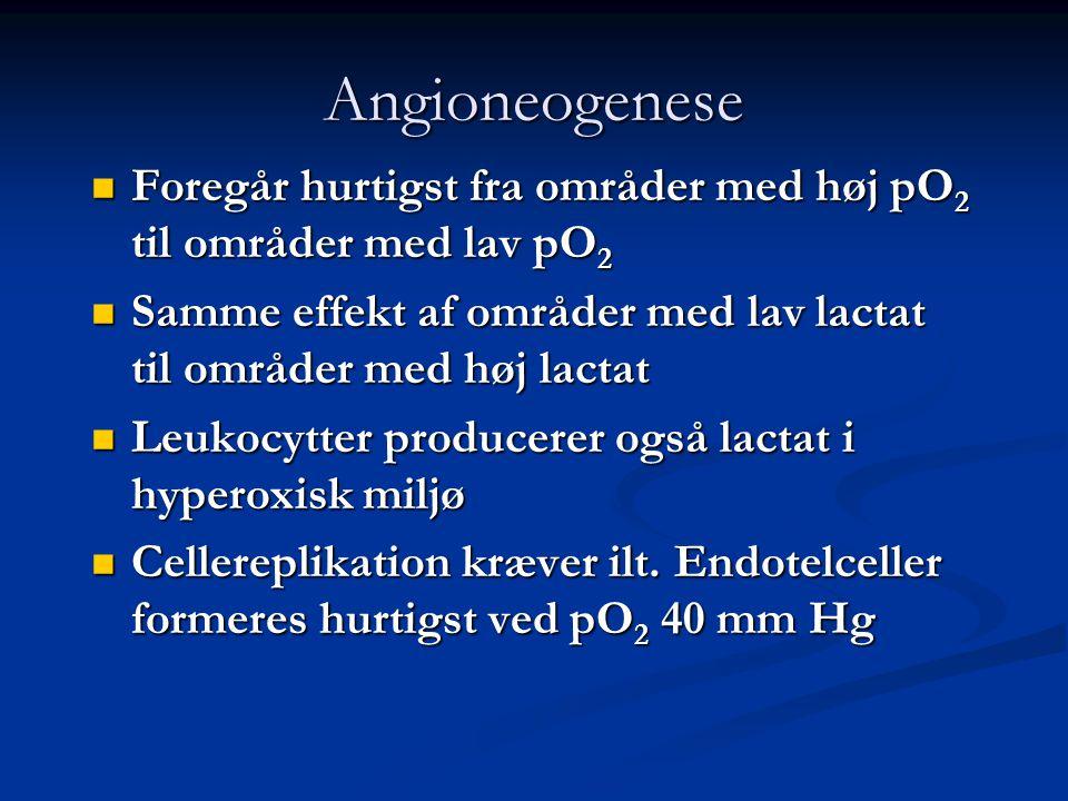 Angioneogenese Foregår hurtigst fra områder med høj pO2 til områder med lav pO2. Samme effekt af områder med lav lactat til områder med høj lactat.