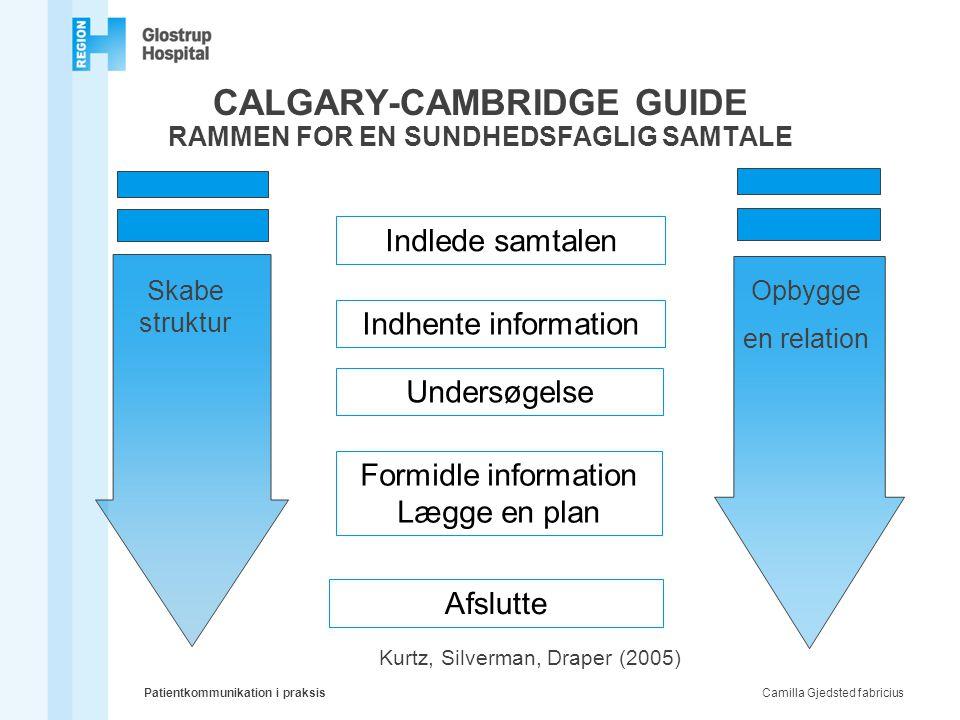 CALGARY-CAMBRIDGE GUIDE RAMMEN FOR EN SUNDHEDSFAGLIG SAMTALE