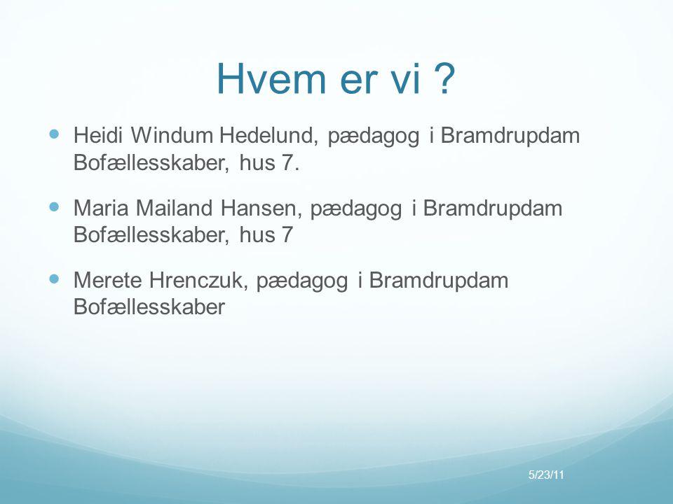 Hvem er vi Heidi Windum Hedelund, pædagog i Bramdrupdam Bofællesskaber, hus 7. Maria Mailand Hansen, pædagog i Bramdrupdam Bofællesskaber, hus 7.