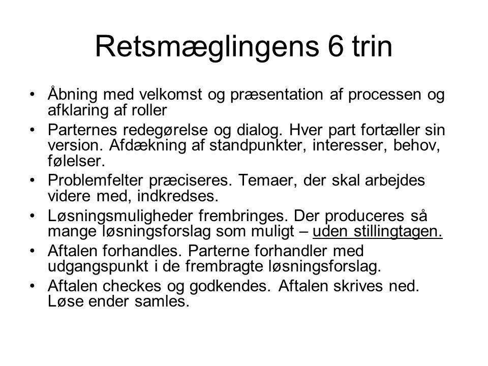 Helle Fløystrup Retsmæglingens 6 trin. Åbning med velkomst og præsentation af processen og afklaring af roller.