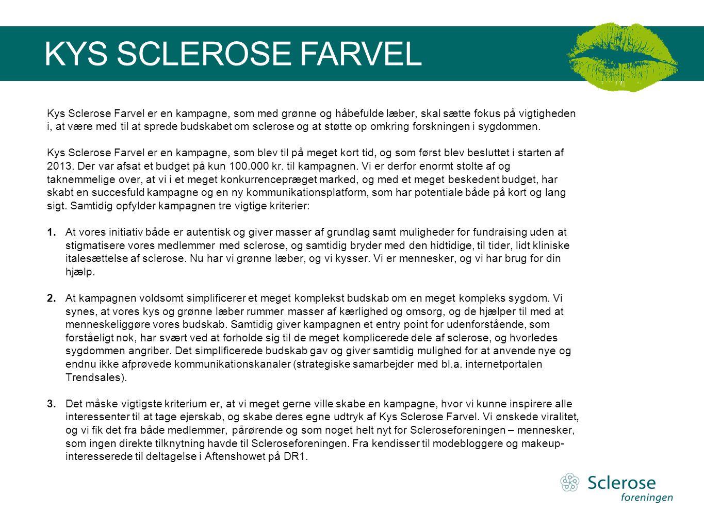 Kys Sclerose Farvel er en kampagne, som med grønne og håbefulde læber, skal sætte fokus på vigtigheden i, at være med til at sprede budskabet om sclerose og at støtte op omkring forskningen i sygdommen.