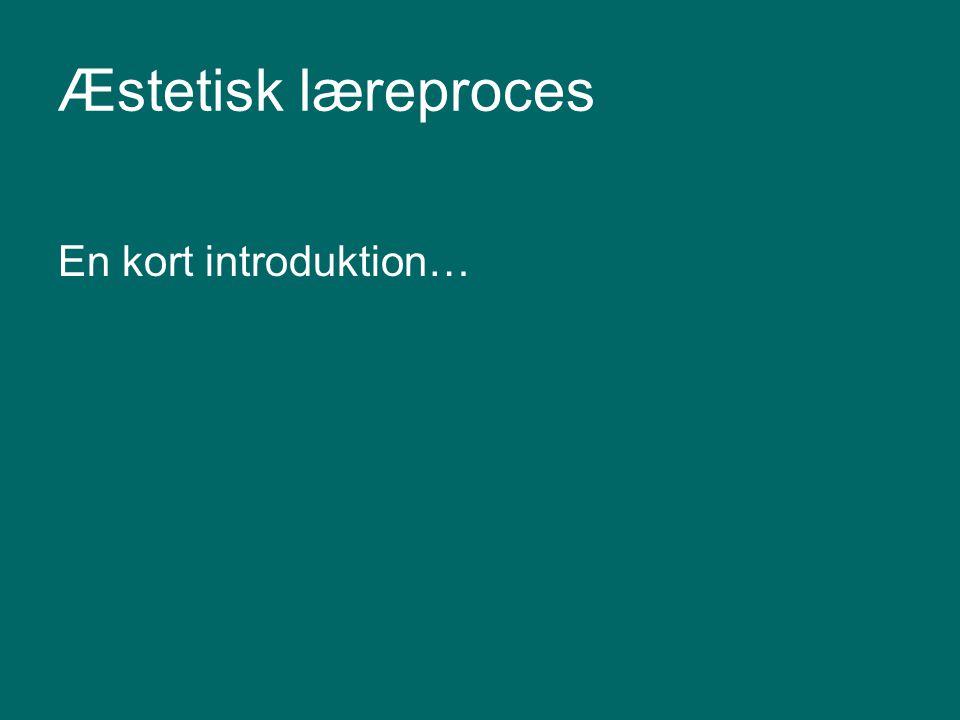 Æstetisk læreproces En kort introduktion…