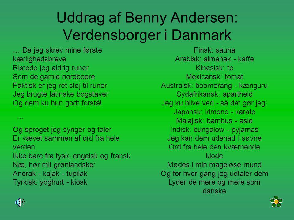 Uddrag af Benny Andersen: Verdensborger i Danmark
