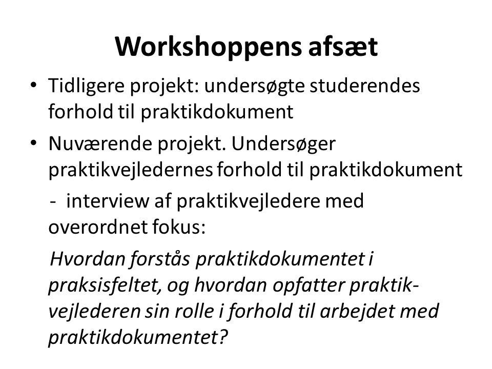 Workshoppens afsæt Tidligere projekt: undersøgte studerendes forhold til praktikdokument.