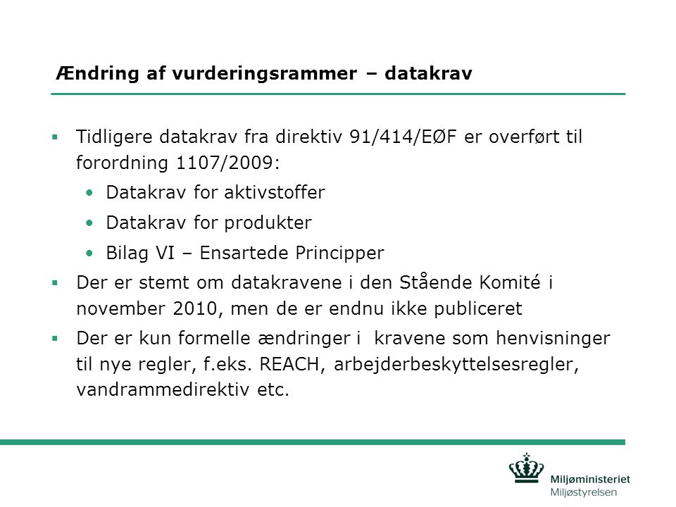 Ændring af vurderingsrammer – datakrav