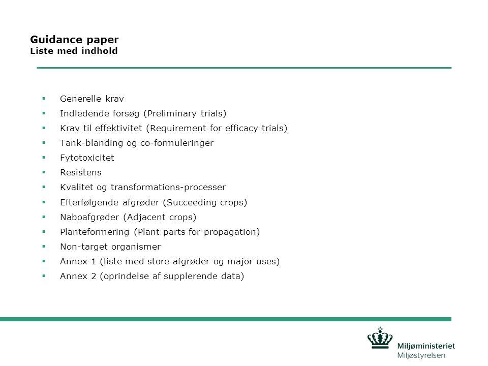 Guidance paper Liste med indhold