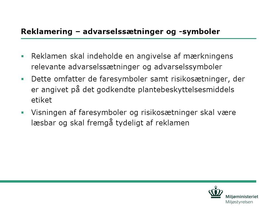 Reklamering – advarselssætninger og -symboler