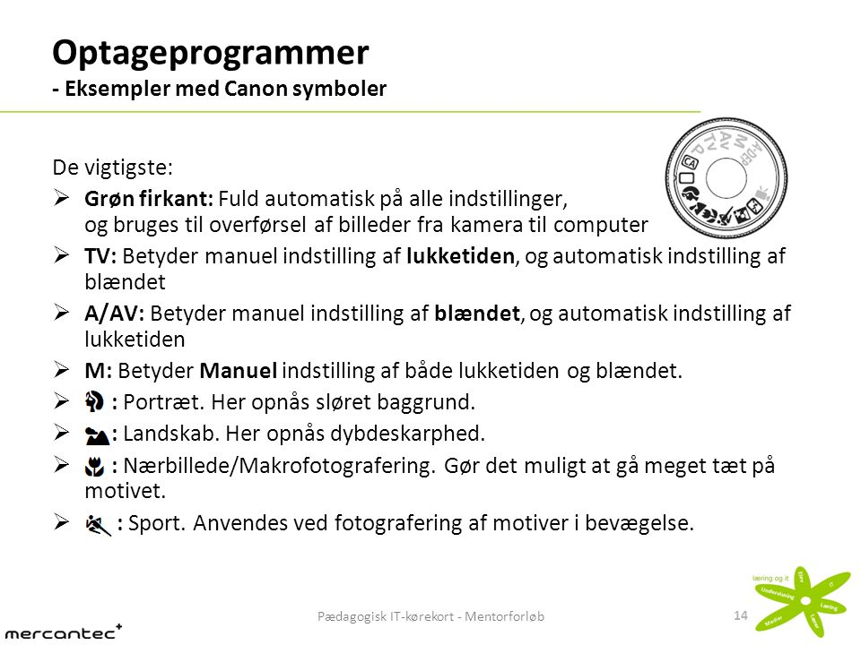 Optageprogrammer - Eksempler med Canon symboler