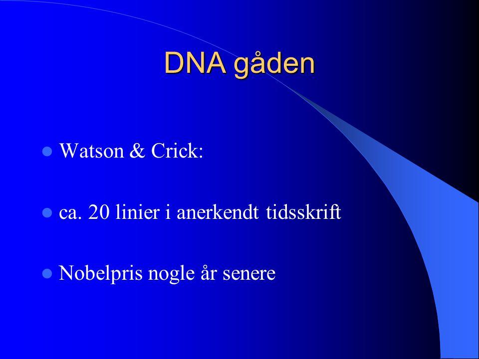 DNA gåden Watson & Crick: ca. 20 linier i anerkendt tidsskrift
