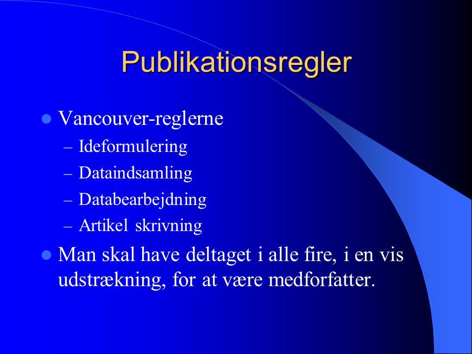 Publikationsregler Vancouver-reglerne