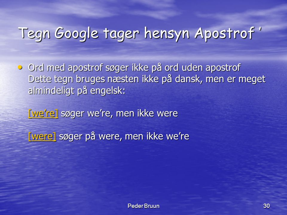 Tegn Google tager hensyn Apostrof '