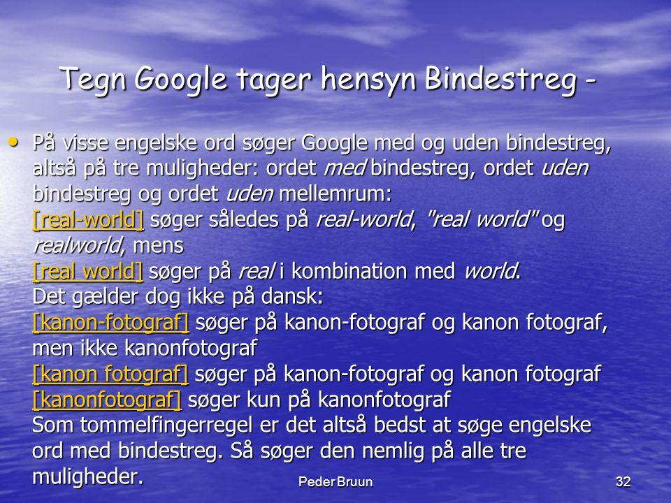 Tegn Google tager hensyn Bindestreg -