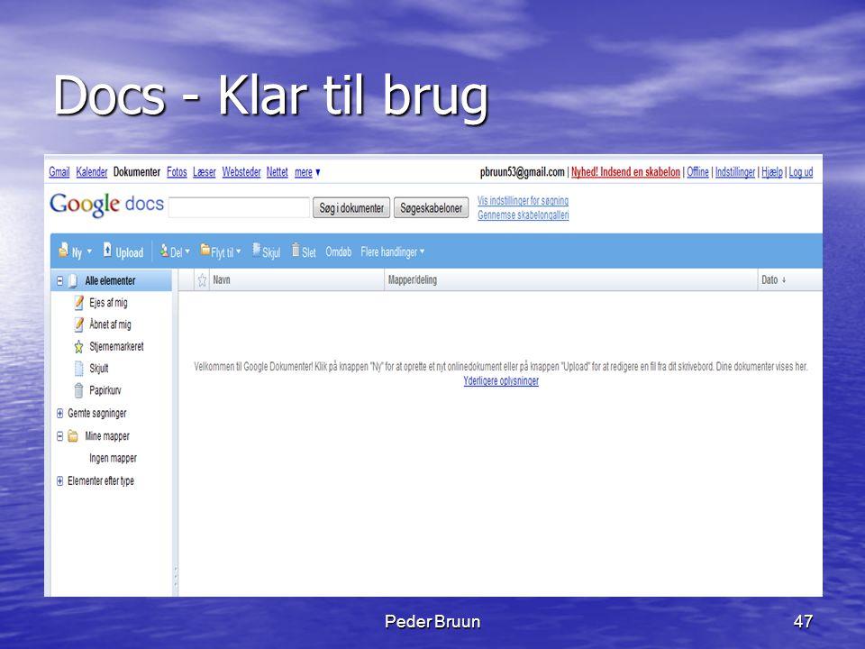 Docs - Klar til brug Peder Bruun