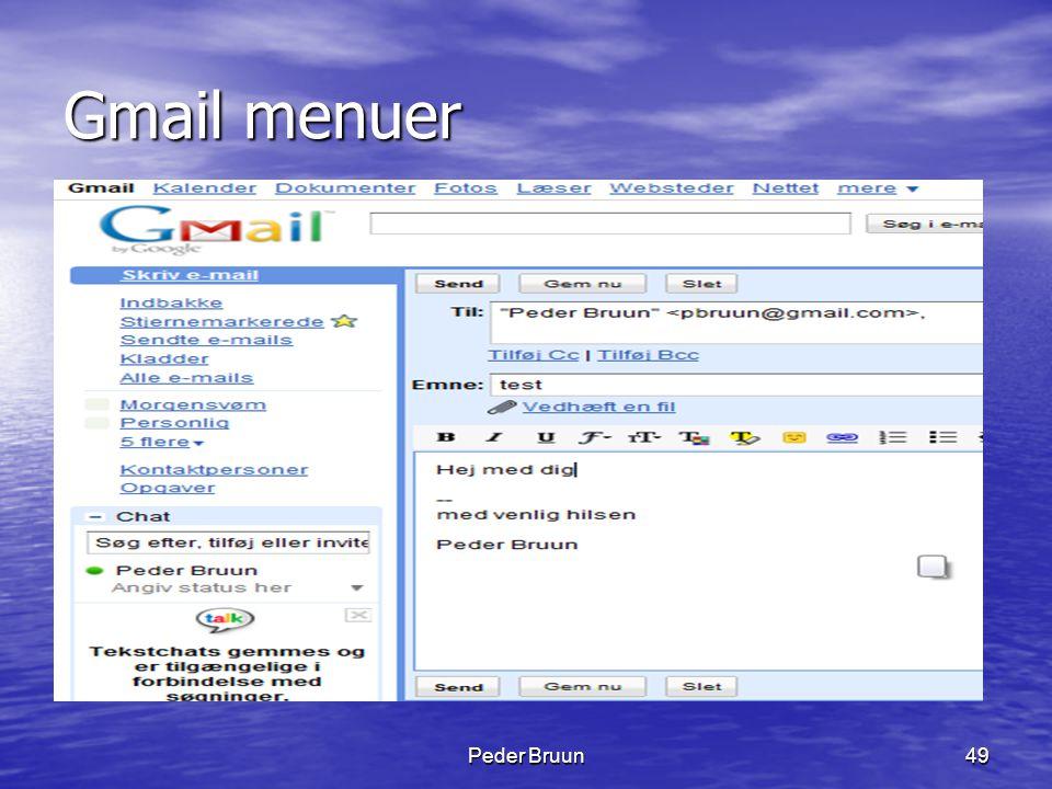Gmail menuer Peder Bruun