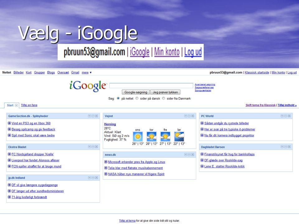 Vælg - iGoogle Peder Bruun