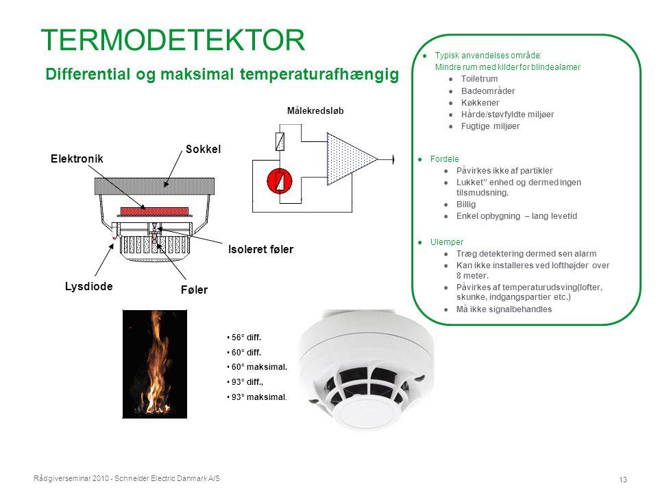 TERMODETEKTOR Differential og maksimal temperaturafhængig Detektorer