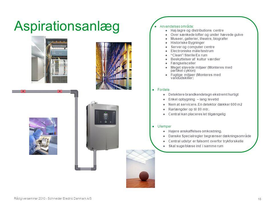 Aspirationsanlæg Anvendelses område: Høj-lagre og distributions centre