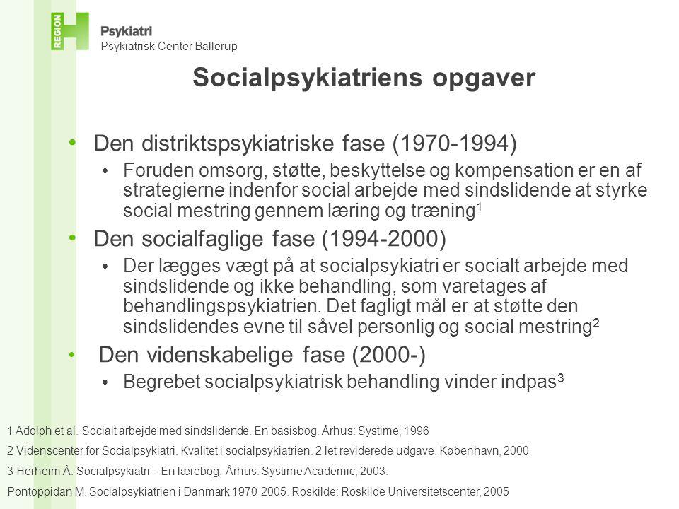 Socialpsykiatriens opgaver