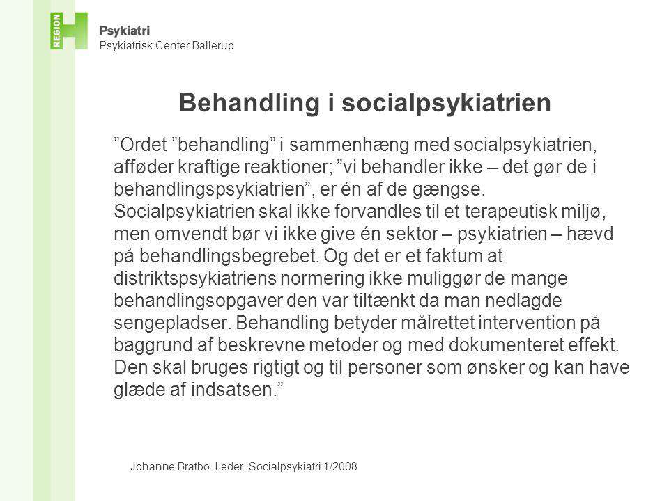 Behandling i socialpsykiatrien
