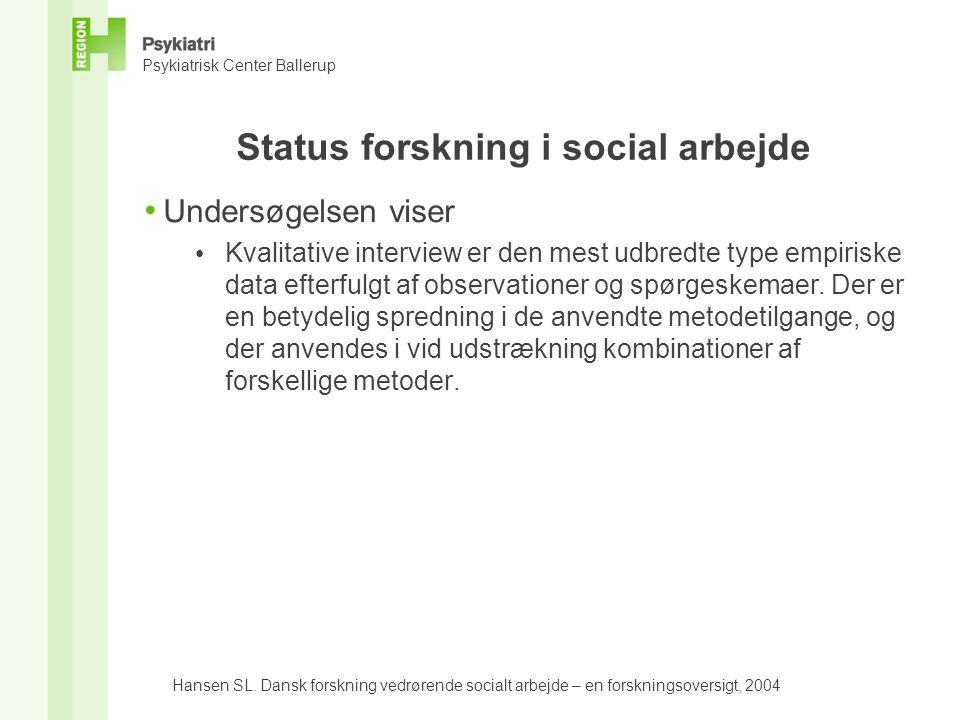 Status forskning i social arbejde