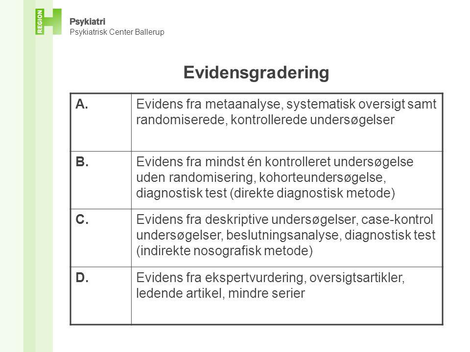 Evidensgradering A. Evidens fra metaanalyse, systematisk oversigt samt randomiserede, kontrollerede undersøgelser.