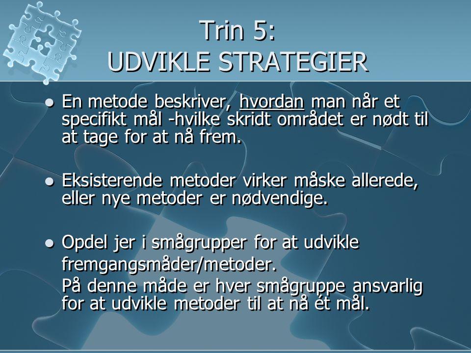 Trin 5: UDVIKLE STRATEGIER