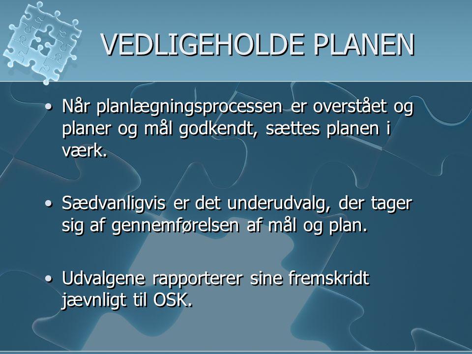 VEDLIGEHOLDE PLANEN Når planlægningsprocessen er overstået og planer og mål godkendt, sættes planen i værk.
