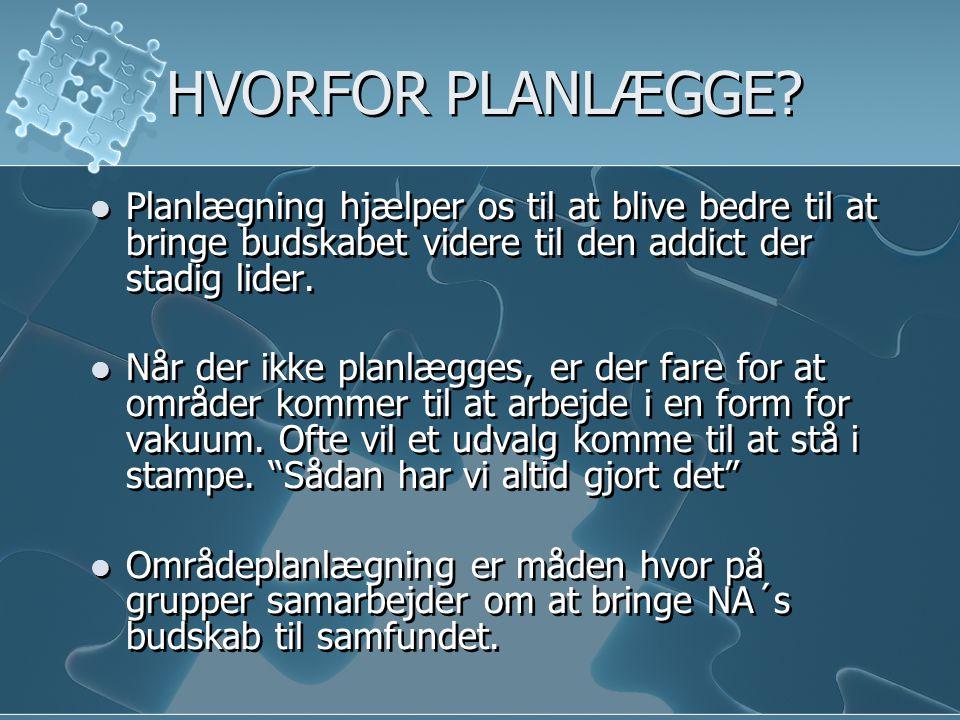 HVORFOR PLANLÆGGE Planlægning hjælper os til at blive bedre til at bringe budskabet videre til den addict der stadig lider.