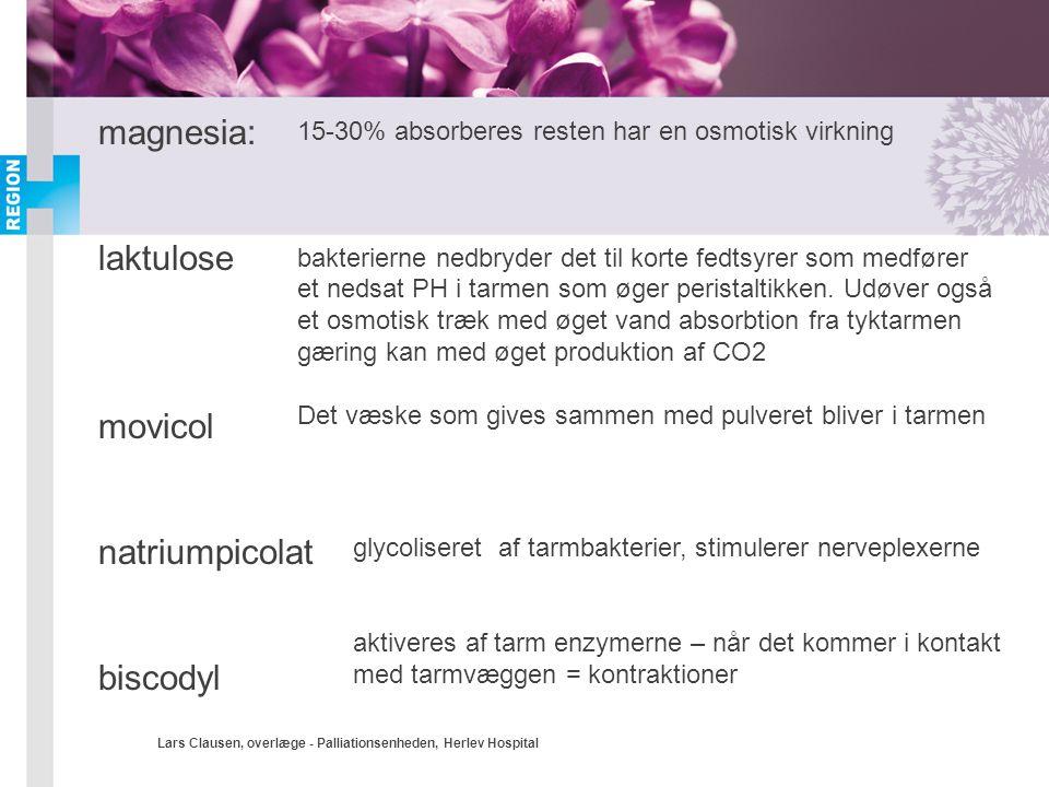 magnesia: laktulose movicol natriumpicolat biscodyl