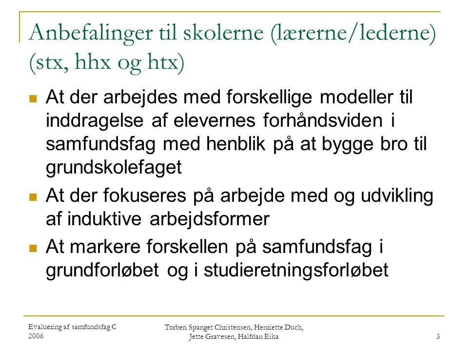 Anbefalinger til skolerne (lærerne/lederne) (stx, hhx og htx)