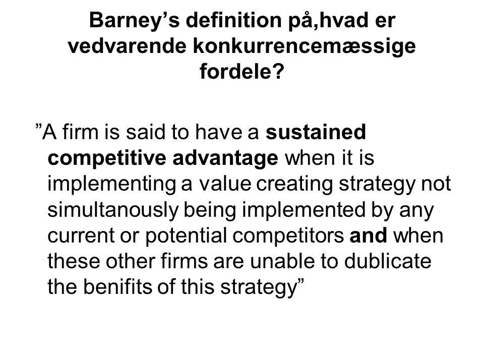 Barney's definition på,hvad er vedvarende konkurrencemæssige fordele