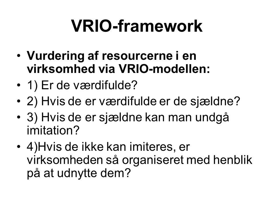 VRIO-framework Vurdering af resourcerne i en virksomhed via VRIO-modellen: 1) Er de værdifulde 2) Hvis de er værdifulde er de sjældne