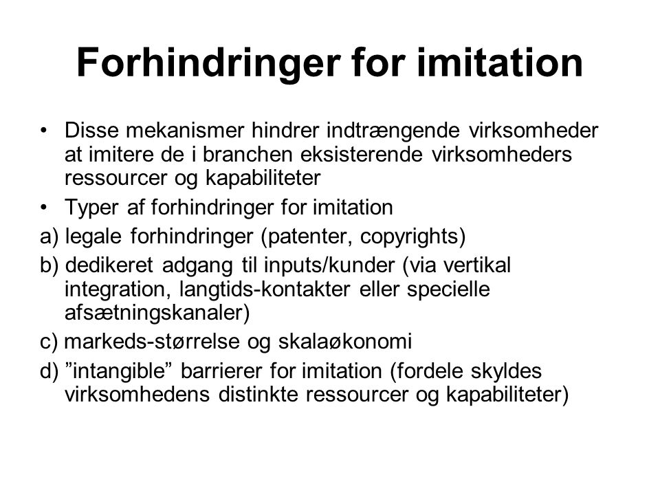 Forhindringer for imitation