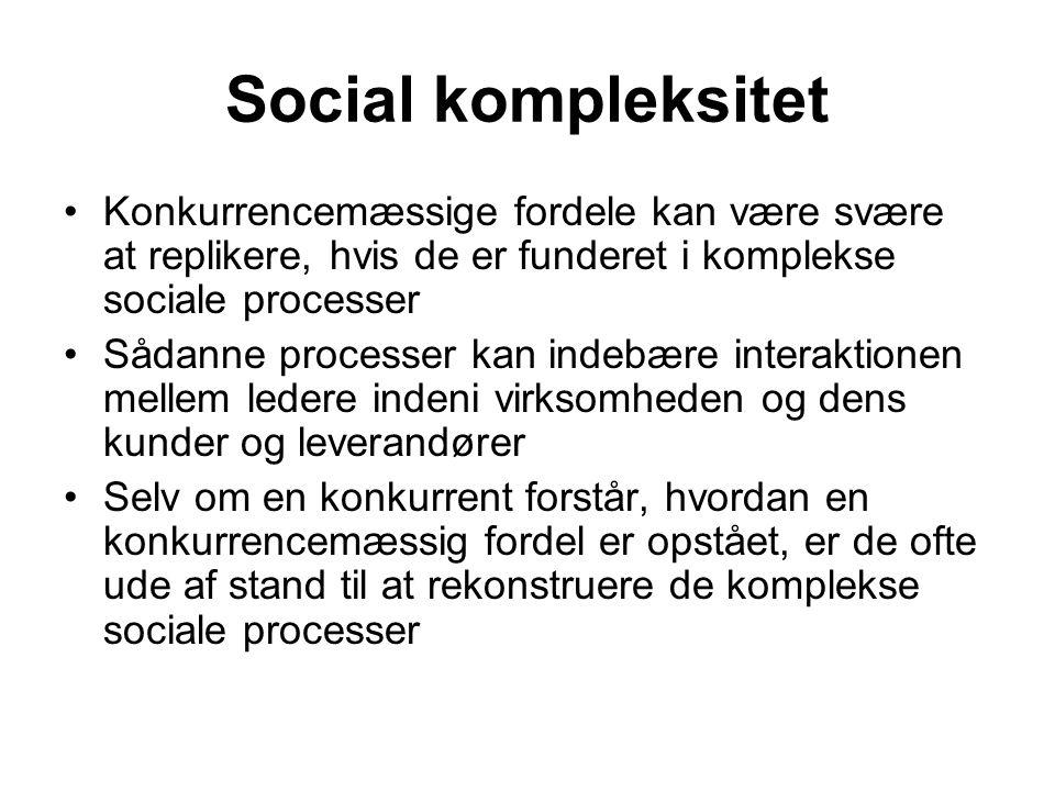 Social kompleksitet Konkurrencemæssige fordele kan være svære at replikere, hvis de er funderet i komplekse sociale processer.