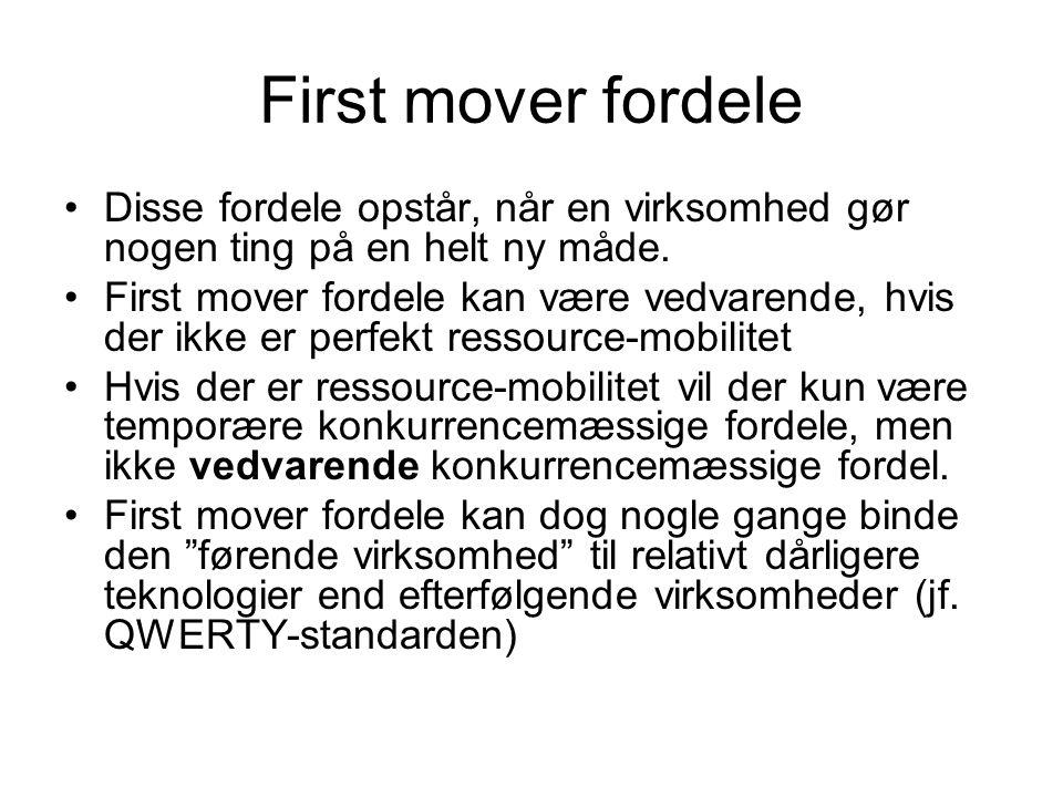 First mover fordele Disse fordele opstår, når en virksomhed gør nogen ting på en helt ny måde.